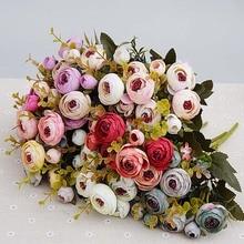 Bouquet de roses thé en soie de mariée 10 têtes/1 lot, pour décoration de maison de noël, mariage et nouvel an, fausses plantes, fleurs artificielles