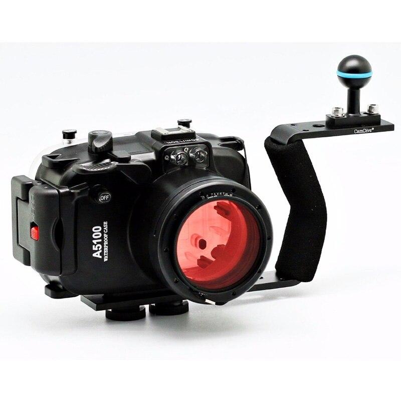 Étui rigide étanche pour boîtier de caméra sous-marine pour Sony A5100 objectif 16-50mm + filtre rouge 67mm + poignée/bras en aluminium