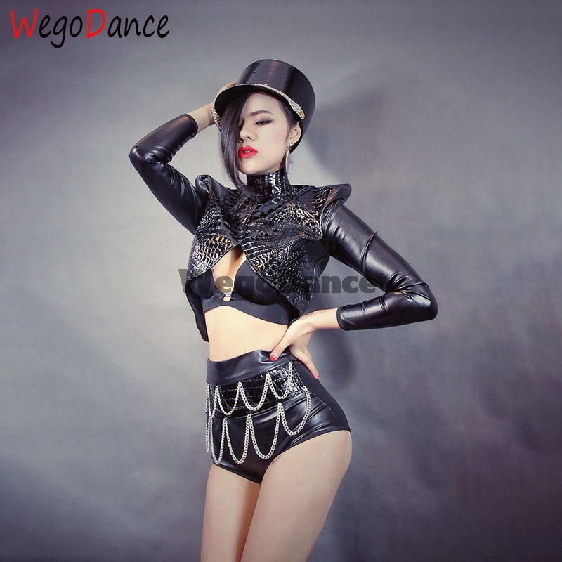 Hot Black PU Leather Matching Sets Sexy Two Piece Top And Pant Set Buckle High Waist Fashion Club Outfits Singer Costume