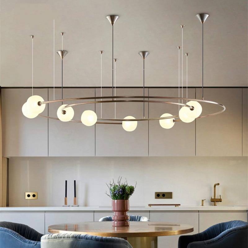Retro Vintage LED Round Pendant Lights Creative Modern Galactic Glass Hanging Lamp for Restaurant Livingroom Bar Cafe Lustres|Pendant Lights| |  - title=
