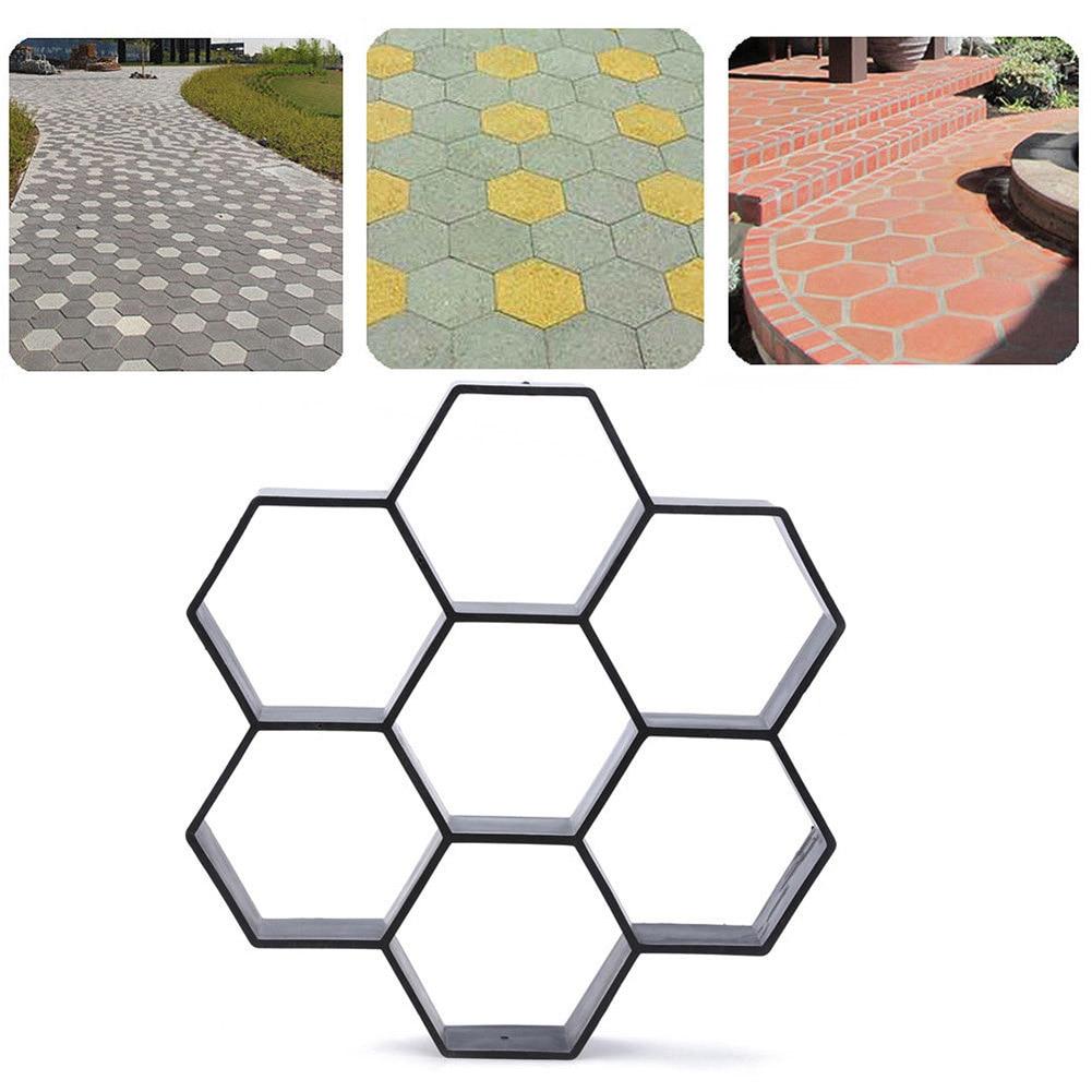 Garden DIY Plastic Path Maker Pavement Model Concrete Stepping Stone Cement Mould Brick PLDI889