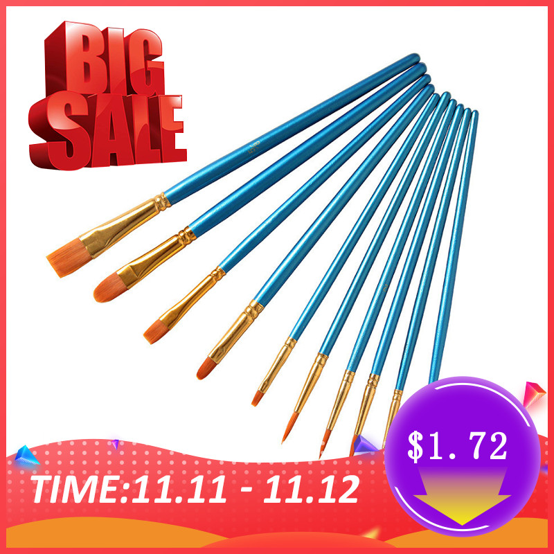 10Pcs/Set Watercolor Gouache Paint Brushes Different Shape Round Pointed Tip Nylon Hair Painting Brush Set Drawing Art Supplies