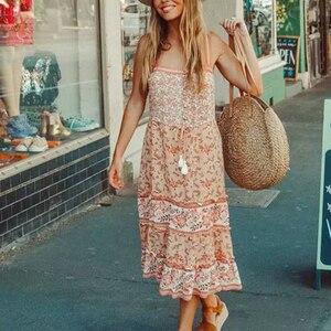 Image 4 - Vintage chic women floral print sleeveless beach Bohemian tassel  Strapless midi dress Ladies Summer rayon Boho dress vestidos