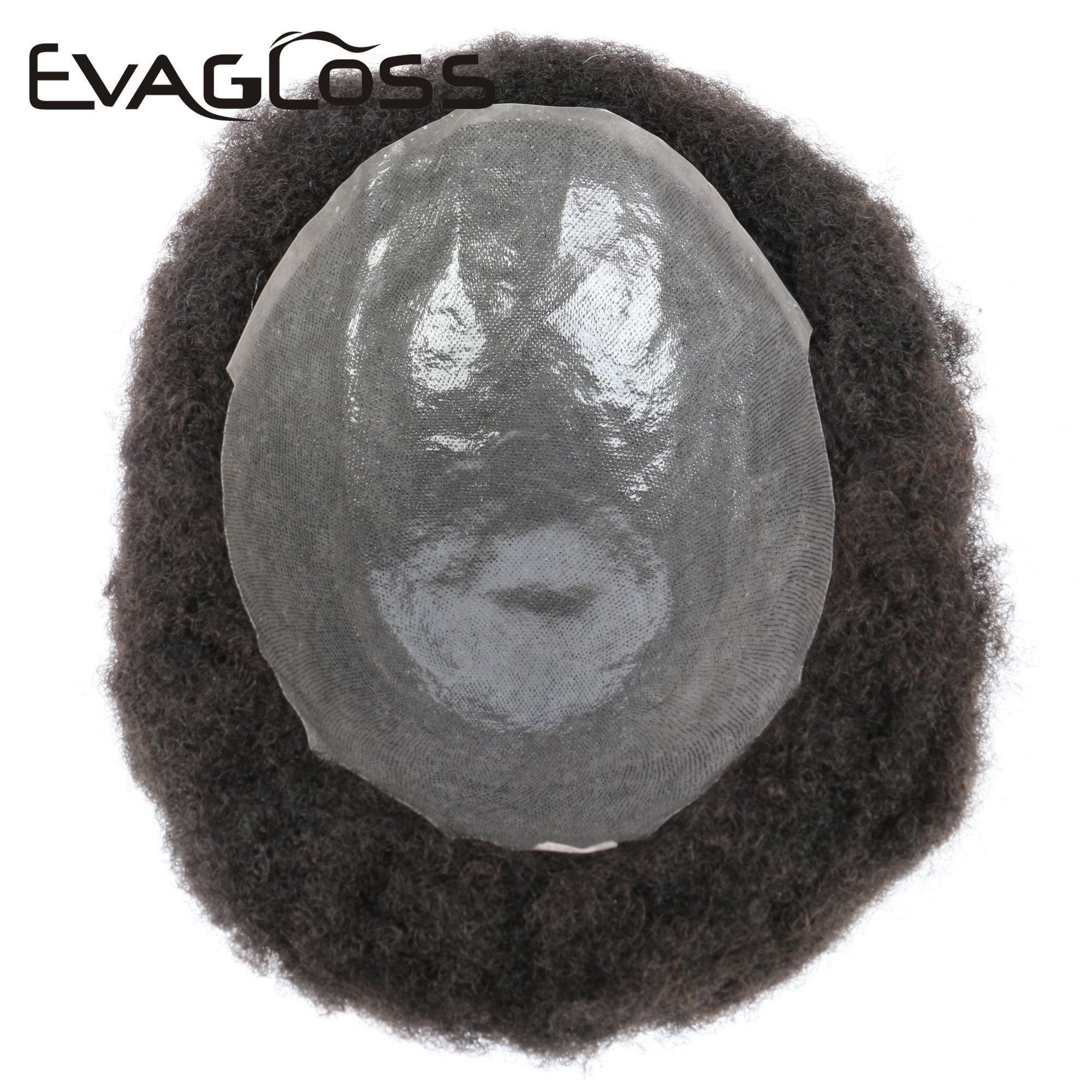EVAGLOSS Afro Full Thin Skin Natural Human Hair Men Hair Wig Toupee For Black People 8*10