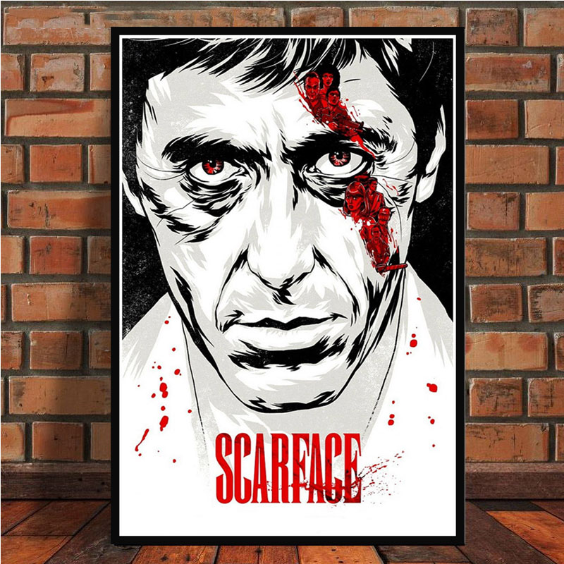 AL PACINO SCARFACE Gangster Movie Art Poster Canvas Painting Wall Picture For Home Decor Posters and Prints quadro cuadros image