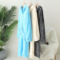 9a104h Korean style New Style Thick Flannel Long Sleeve Nightgown Tracksuit Dress
