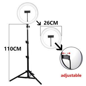Image 3 - 26cm LED Selfie halka ışık 24W 5500K stüdyo fotoğraf fotoğraf doldurun halka işık iphone için Tripod ile akıllı telefon klip makyaj