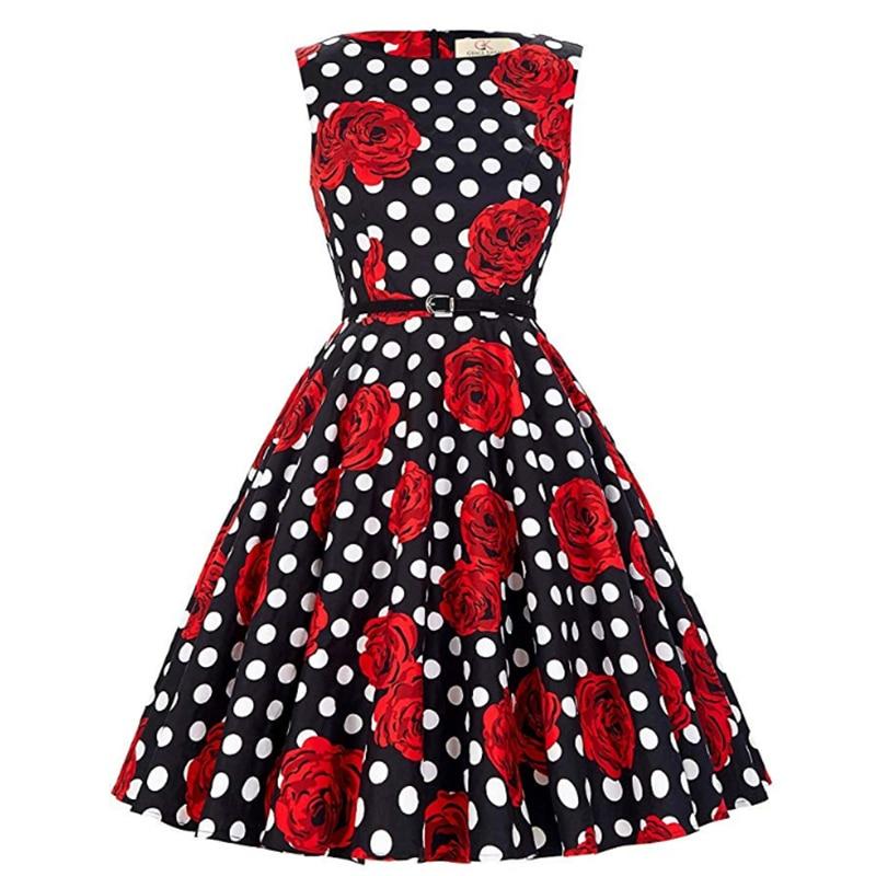 Summer Mature Ladies Fashion Dress 50's Retro Banquet Dress Round Neck Sleeveless Rose Dot Print Slim Knee Length Dress