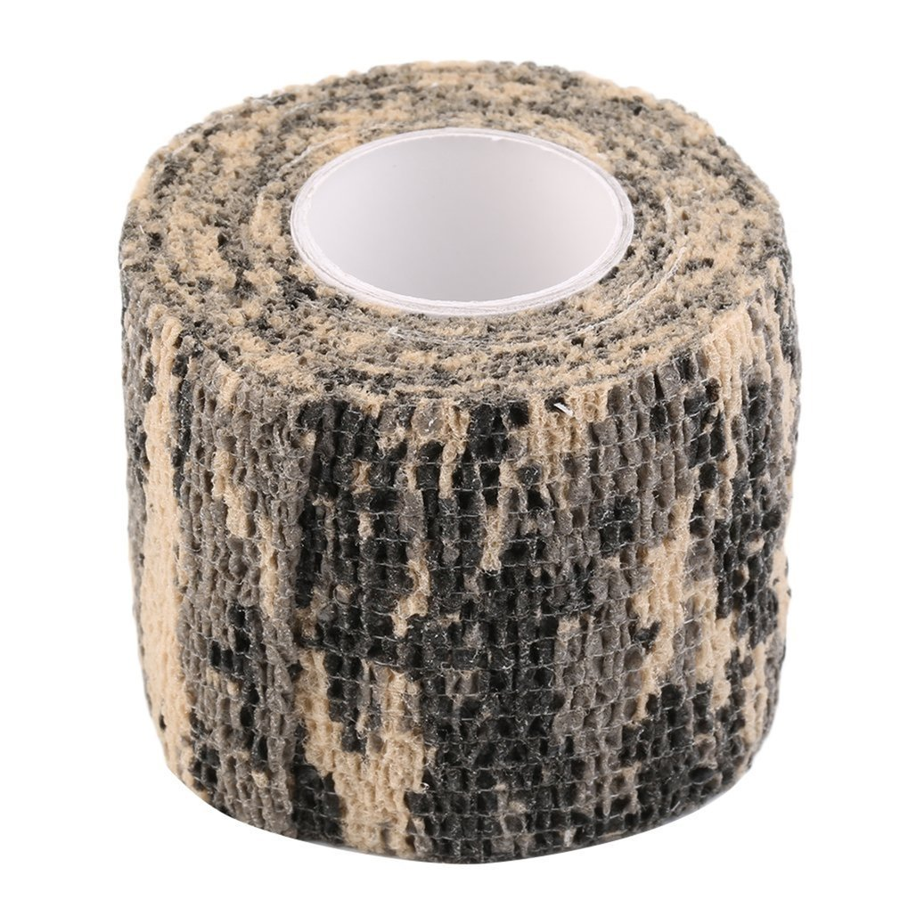 1pcs 5M Elastic Hunting Army Adhesive Camouflage Tape Stealth Strap Roll Men Protective Outdoor Tight Wrap Gun