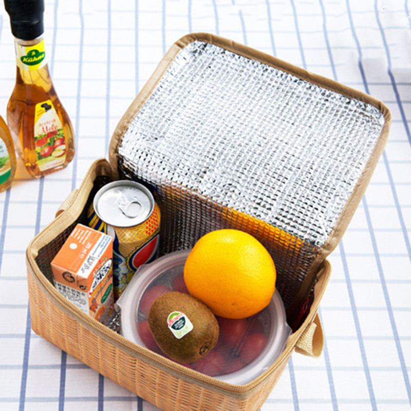Vogvigo Portable Lunch Bag Zipper Tote Outdoor Travel Organizer Imitation Rattan Storage Bag Box Insulated Thermal Lunch Box