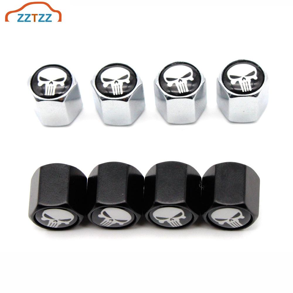 4 Pcs/Set Skull Logo Car Valve Caps Car Dust Caps Tire Wheel Stem Air Valve Caps Valve Stem Cover For Cars Moto Bike Decoration