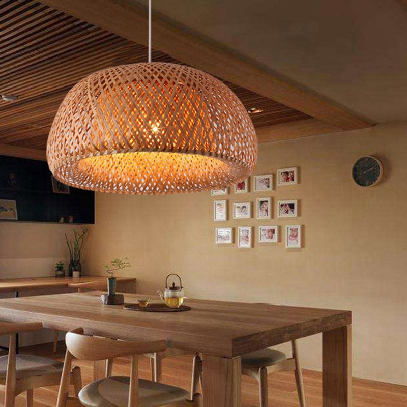 Modern Bamboo Work Hand Knitted Bamboo Weaving Chandelier Restaurant Handmade