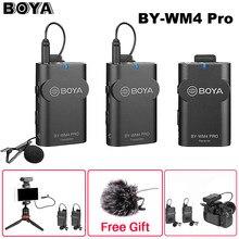 Boya-micrófono condensador BY-WM4 Pro K1/K2 de doble canal, 2,4G, inalámbrico, para estudio, para entrevista, para iPhone, cámaras DRLR