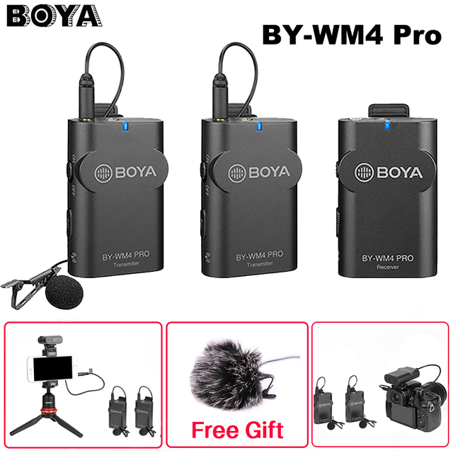 Boya BY-WM4 Pro K1/K2 Dual Channel 2.4G Wireless Studio Condenser Microphone Lavalier Interview Mic for iPhone DRLR Cameras