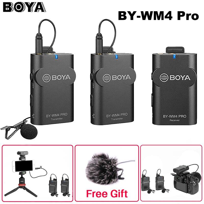 Boya BY-WM4 Pro K1/K2 Dual Channel 2,4G inalámbrico estudio condensador micrófono Lavalier entrevista Mic para iPhone DRLR cámaras
