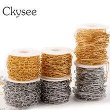 Ckysee 1 meter/los Edelstahl Kette Metall O Geformt Halsketten Papier Clip Link Kette DIY Schmuck Halskette Zubehör