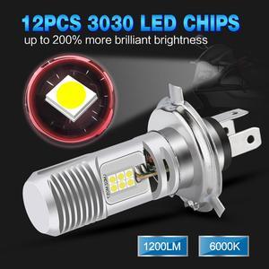Image 4 - 1pcs H4 P15D Motorcycle Headlight Bulb 1200LM Hi/Low Beam 12SMD 3030 Chips Motorbike Fog Lamp 12V 24V Moto Lights Accessories