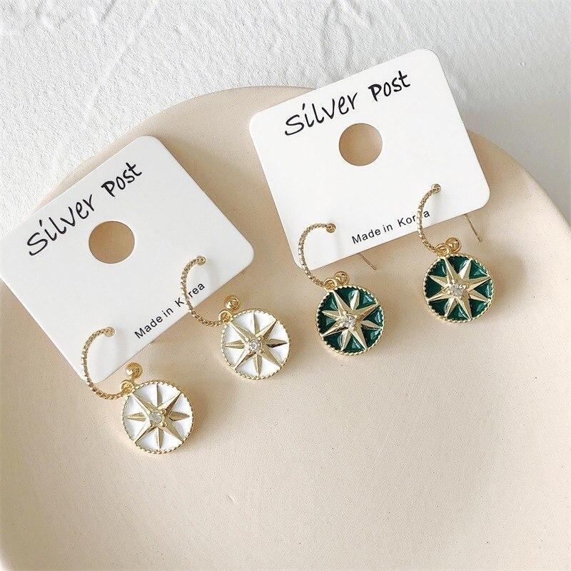 S925 Silver Needle Korean Fashion Chic Disc Drop Earrings Female Trendy Party Jewelry Geometric Compass Dangle Earring For Women