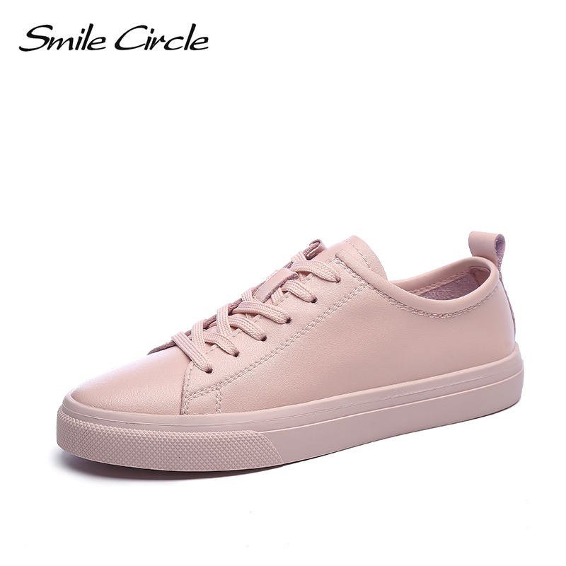 Smile Circle Women Sneakers Flat Platform Shoes White Casual Genuine Leather Soft Bottom Lace-up Shoes Student