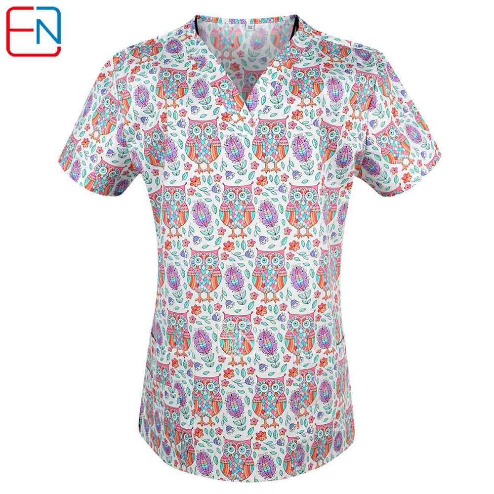Image 4 - Brand medical scrub tops for women surgical scrubs,scrub uniform in 100% print cotton maotou seriesScrub Tops & Bottoms   -