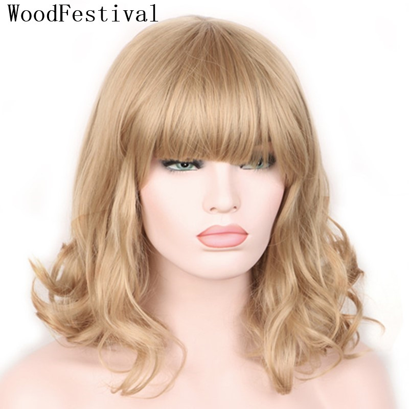 WoodFestival Synthetic Hair Short Wig With Bangs Heat Resistant Blonde Black Brown Wavy Cosplay Wigs For Women