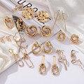Neue Mode Gold Farbe Metall Tropfen Ohrringe Edelstahl Einfache geometrie Knoten Twist Ohrringe Für Frauen Erklärung Schmuck Geschenk