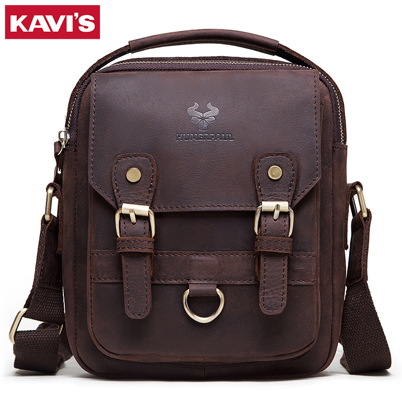 KAVIS 100% Genuine Leather Men Shoulder Bags  Messenger Bag Male Handbag Business Crossbody Bolsos Casual Famous Sling Sac