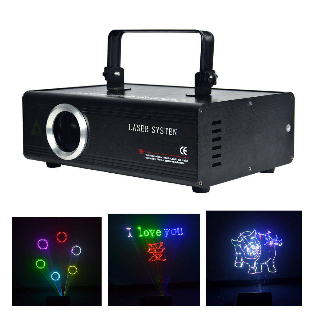 AUCD 40 KPPS DIY Edit SD Program Card DMX ILDA Kaleidoscope RGB 500mW Laser Disco DJ Party Show Animation Scan Projector Lights