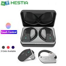 Z2 Ear Hook TWS Blue Tooth Earphone 5.0 Touch Wireless Fashion Earpiece Handsfree with Binaural Microphone Power Bank & Lanya