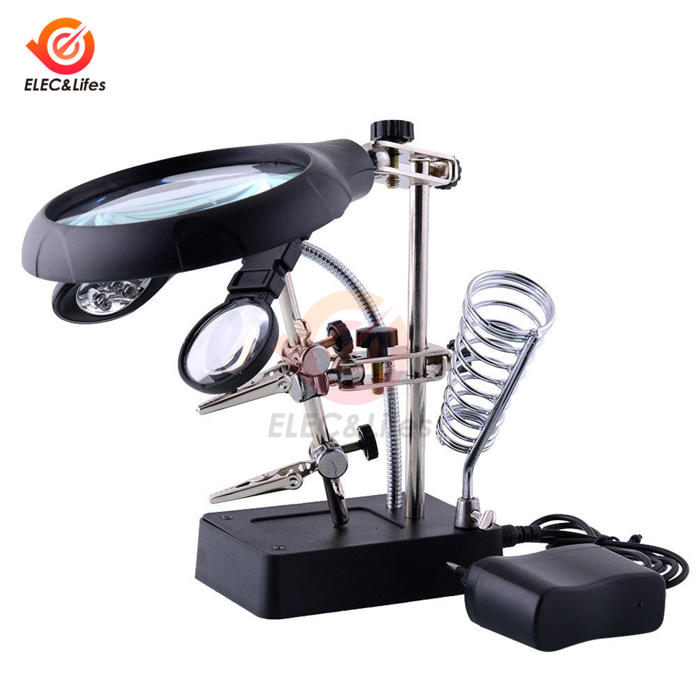 3 In 1 Soldering Iron Stand Holder Solder Station MG16129-C Welding Magnifying Glass 5 LED Auxiliary Clip Magnifier Repair Tool