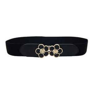 Waistband Elastic-Belt Cummerbunds Buckle Dress Gold Black Wide Women for Cinto Elegant