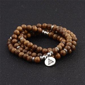 Image 4 - Unisex Women Men Yoga 108 Beads Bracelet Natural Sandalwood Buddhist Buddha Wood Prayer Beaded Lotus OM Bracelet Necklace Rosary