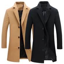 Outono inverno moda masculina casacos de lã cor sólida único breasted lapela casaco longo jaqueta casual plus size 5 cores