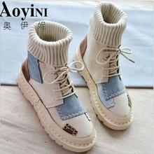 Осенне-зимние замшевые тканевые ботинки с высоким берцем и шерстью Женская обувь