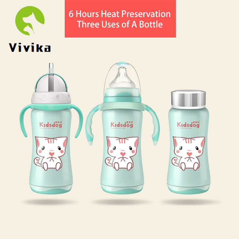 Baby Bottle Thermos Stainless Steel Nursing Bottle Nipple Insulation Cup Vacuum Flask Milk Bottle Feeding Bottle 3-in-1