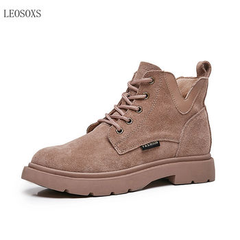 Leosoxs2020 Autumn and Winter Chic Martin Boots Women's  Motorcycle Boots British Style Retro Korean-Style All-match Ankle Boots