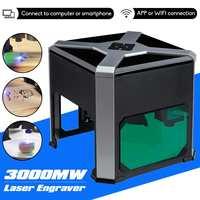 3000mw CNC Wifi Laser Engraver DIY Logo Mark Printer Cutter Woodworking Mini Laser Engraving Machine Engraving Range Wainlux K6