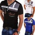 Мужская рубашка-поло с коротким рукавом и отложным воротником, с V-образным вырезом