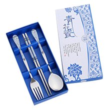 цена на Portable Cute Dinnerware Set Stainless Steel Tableware Suit Traditional Chopsticks Spoon Fork With Travel Box