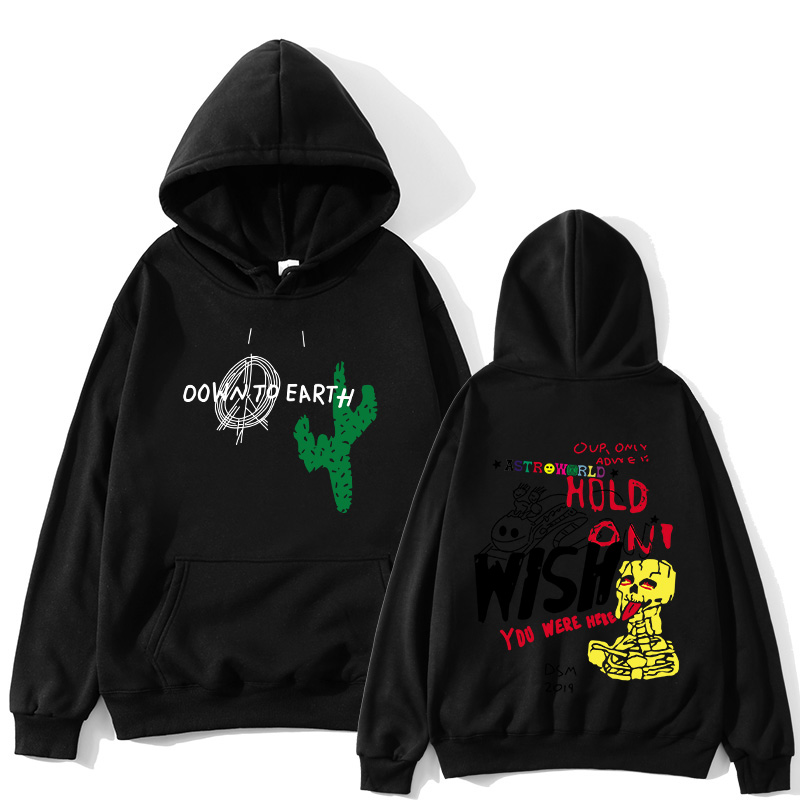 Astroworld Travis Scott Cactus Graffiti hoodies men Down To Earth Pullover Sweatshirts Men itself hip Hop Long Sleeve Streetwear