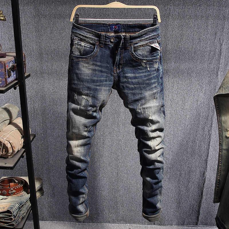 Pantalones Vaqueros De Estilo Italiano Para Hombre Retro Azul Ajustados Vaqueros Rasgados Elasticos De Algodon Ropa De Calle Vaqueros De Hip Hop Para Hombre Pantalones Vaqueros Aliexpress