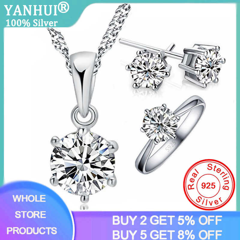 anniversary gift gift for her jewelry cubic zirconia ring real 925 sterling silver christmas gift Jewelry set necklace zircon