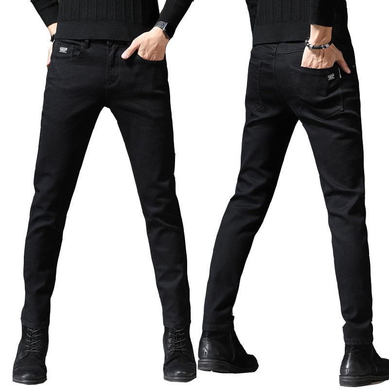 Fashion Designer Stretchy Jeans Men Straight Black Printed Jeans Pant Cotton With Spandex