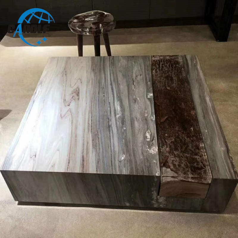Dubai High End Marble Stone Square Coffee Table Modern Living Room Center Table On Sale