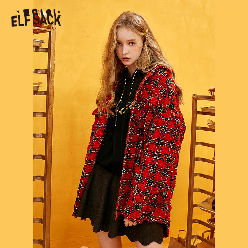 ELFSACK Red Plaid Straight Single Breasted Wool Coats Women 2019 Winter Long Sleeve Warmness Loose Office Ladies Sweety Outwear