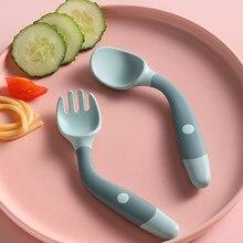 Colher de silicone para o bebê conjunto de utensílios de comida auxiliar criança aprender a comer treinamento dobrável forquilha macia infantil crianças utensílios de mesa