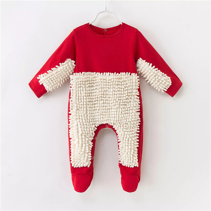 White Lovely Body Newborn Infant Crawling Jumpsuit Mop Outfits Red