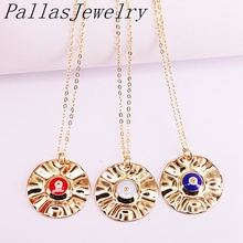 10Pcs Gold Color Round New Fashion Colorful Enamel Eye Pendant Necklace for Woman