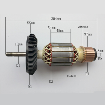 AC220-230V Armature Motor Rotor Replace for Bosch GWS21-180 / 230 Angle Grinder Rotor Power Tool Spare Parts