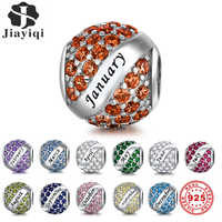 Jiayiqi 12 Months Birthday Charms 925 Sterling Silver Round CZ Beads Fit Women Pandora Charms Silver 925 Original Jewelry Gift